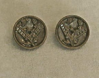Pair of Buttons, Intricate Metal Openwork Two-Layer Floral Design, Victorian-Era