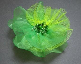 Flower pin, Two fabrics sewn brooch.