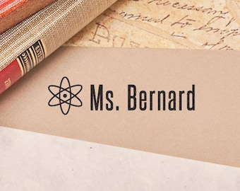 Teacher Stamp, Science, Atomic, School Teacher Stamp, Back to School, Personalized Name Stamp, Teacher Gift, Back to School HT101