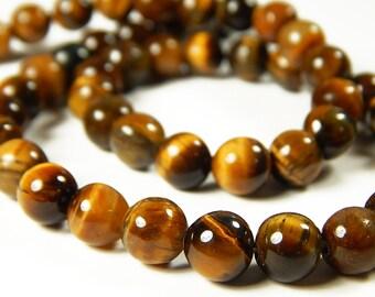 15 Inch Strand - 8mm Round Yellow Tigers Eye Gemstone Beads - Gemstone Beads - Jewelry Supplies