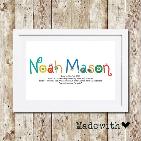 Personalised framed baby name meaning gift keepsake wall personalised framed baby name meaning gift keepsake wall art negle Image collections