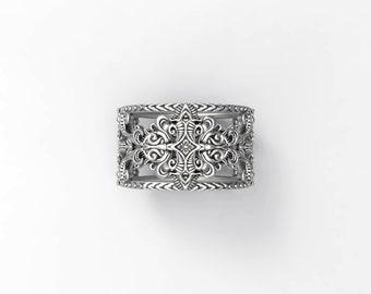 Baroque filigree ring - Sterling silver, White Gold, Palladium, Platinum
