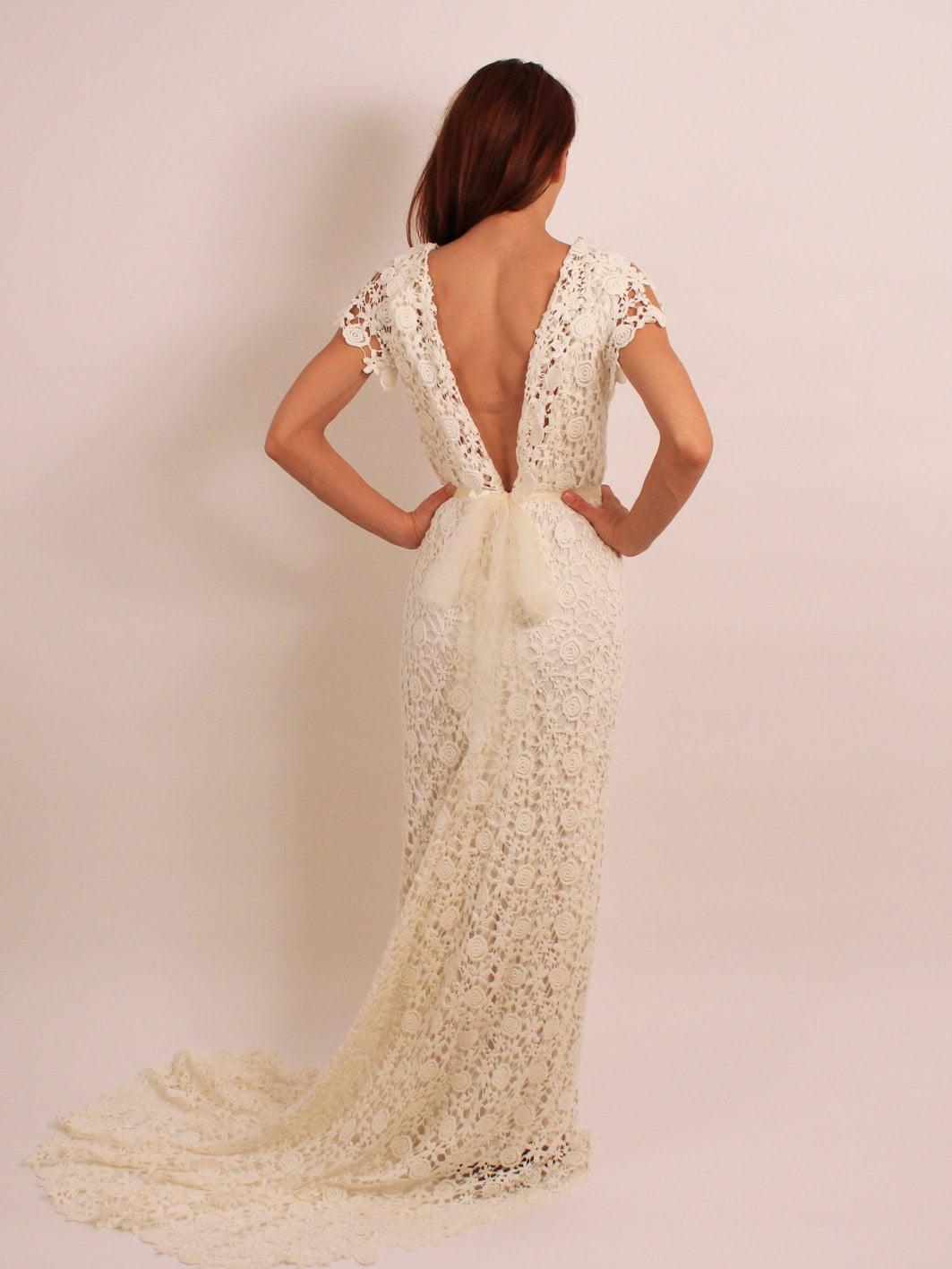 Cotton Lace Wedding Dress Boho Wedding Dress Long Train