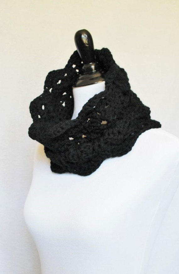 Black Crochet Scarf, Lacy Crochet Cowl, Scalloped Neck Warmer, Black Infinity Scarf, Collar