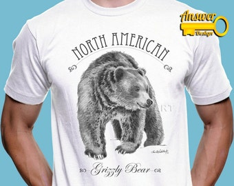 Grizzly bear shirt etsy american grizzly bear soft and comfy quality t shirt men unisex wildlife animal publicscrutiny Image collections