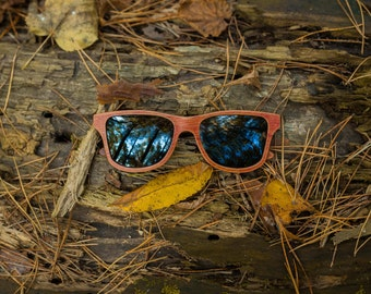 Handcrafted Wayfarer Wooden Sunglasses, Birch Wood Sunglasses, Polarized Brown Wood Sunglasses | Mens and Womens Sunglasses