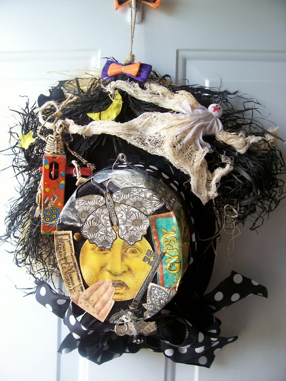 OOAK Steampunk Collage Top Hat Wreath