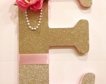 Gold/Pink Custom Decorated Letter-Name Decor