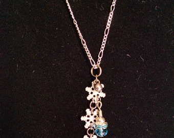 White and Silver Snowflake - Handmade Necklace