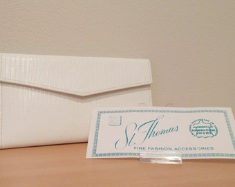 Vintage St. Thomas Leather Envelope Wallet, White,coin purse,checkbook organizer, Mint Condition