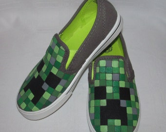 Minecraft inspired shoes- Glow-in-the-dark paint!