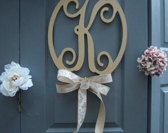 Oval Circular Initial Wooden Monogram Door Wall Decor Wedding Engagement