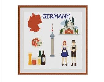 Germany cross stitch, City cross stitch, City cross-stitch, Country cross-stitch, Country cross stitch, Berlin skyline, German folk art, PDF