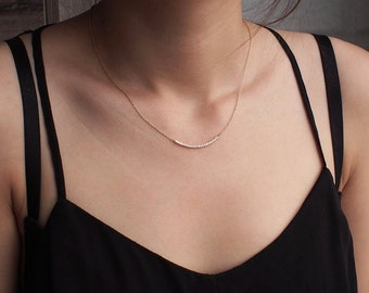Curve CZ Bar Necklace, Dainty Minimal CZ Bar Necklace, Simple Layering Necklace in Sterling Silver #D70W