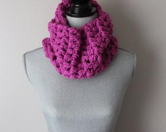 Fuschia Crocheted Chunky Cowl