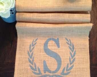 Initial and Wreath Burlap Table Runner