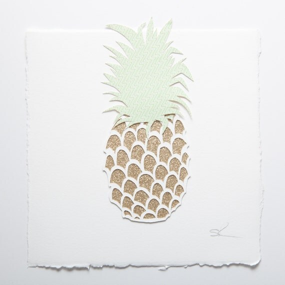 Pineapple handmade papercut picture // exotic fruits - wall art - pineapple art print - interior decor - fruit picture - personalized gift