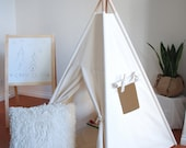 Natural Canvas Teepee, Play Tent, Kids Teepee, Childrens Teepee, Teepee Tent, Tipi, Playhouse, Kids Room Decor, Nursery Decor, Large Teepee