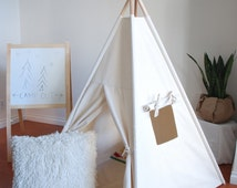 READY TO SHIP, Medium Natural Canvas Teepee, Play Tent, Kids Teepee, Childrens Teepee, Teepee Tent, Tipi, Playhouse, Kids Room Decor