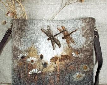 Sepia. Unique Hand Made  Felted Wool Deer Shoulder Crossbody Messenger Bag Boho Hobo