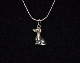 """CP018: Solid Sterling Silver 20.25"""" Snake Chain Necklace with Silver Dachshund Dog Puppy Pendant"""