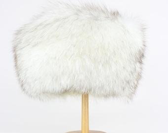 TURKISTUKKU 1970s Vintage Arctic Fox Fur Hat White Smokey Brown Winter Wedding Baptism Size S – M / UK 6 7/8 / USA 7