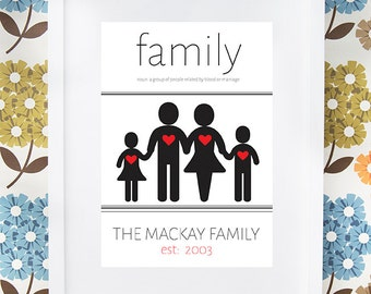New Home or family print gift with famliy definition personalised available framed or unframed