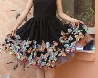 Black 60's Vintage Butterfly Dress