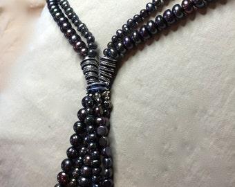 PEARL, necklace, long -  double strand -  Twilight - peacock blue purple  -  large pearl TASSEL      *SALE*