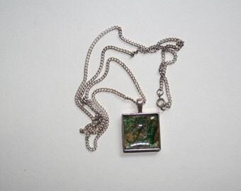 Silver, Square, Textile Art, Pendant 20mm