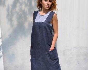 Royal Blue Womens Linen Japanese apron. Pinafore. Comfortable Smock apron. Linen Apron Dress, full apron.