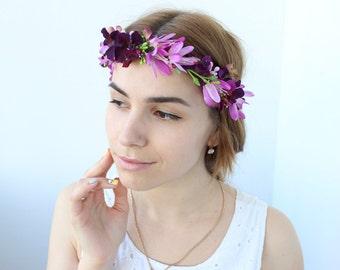 Pink and purple flower wreath, fuschia flower wreath, Purple flower headpiece, Purple wedding headpiece, Purple flower crown, Flower halo