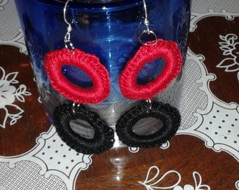 Crochet cabone ring earring