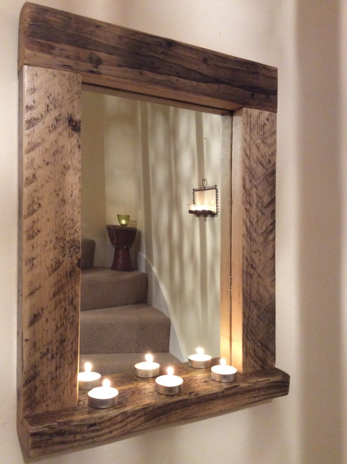 Wooden Wood Mirror With Shelf Handmade Reclaimed Wood