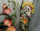 RESERVED Dia de los Muertos, Sugar Skull Doll, Spirit Doll, Assenblage Art Doll, kitchen witch doll, Awesomeart, ethnic doll, Mexican art