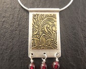 Necklace - Pendant in Sterling Silver and Floral Brass - Handmade in Seattle