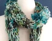 10% Off - Tidal Pool- Funky, Chunky Scarf- Hand Knit One of a Kind Handspun Art Yarn Neckwear