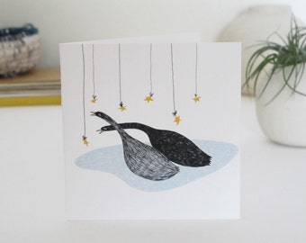 Christmas Card: Swans with Stars