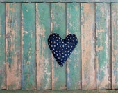 Rustic Heart, Primitive Heart, Antique Quilt Heart Ornament, Rustic Wedding Decor, Primitive Decor, Vintage Ticking Heart, Primative Heart