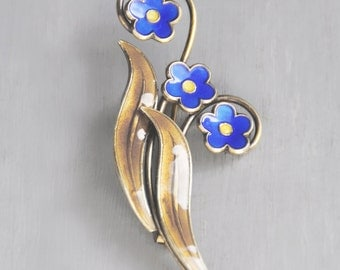 Vintage Enamel Flower Brooch - Andresen & Scheinpflug Oslo Norway - gilded sterling silver blue floral pin