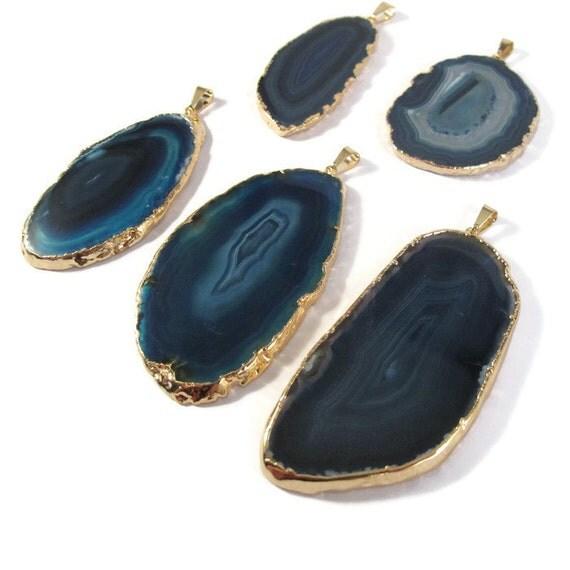 One Blue Gemstone Charm, Agate Slice Charm for Jewelry Making, Large Quartz Pendant, Gold Plated Bezel Set Focal Pendant (C-Ag13)