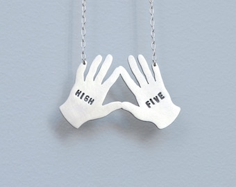 High five necklace in sterling silver - nickel free -  statement necklace - high five hands gift for her gift for BFF / gift for sister