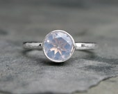 Iridescent Lavender Moonstone Ring Sterling Silver, Faceted Gemstone, Radiant Orchid Moonlight, Hammered Ring Band, Solitaire Statement Ring