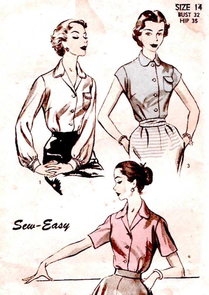 los años 50 para mujer blusa patrón de alta costura vintage