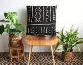"20 inch African Mud Cloth Pillow Cover, 20"" x 20"", Rose Gold Zipper, Boho Style, Black and White Pillow, Bogolan Fabric, Mudcloth Pillow"