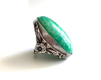 Antique Peking Art Glass Sterling Silver Ring - Large Statement Ring - Beautiful Ornate Floral Setting
