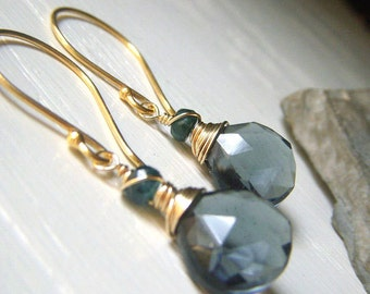 Slate Blue Quartz Earrings, Smoky Blue Wirewrapped Gemstone Gold Dangle, Teal Slate Earrings, Gemstone Briolette Earrings with Tourmaline