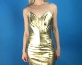 NORTH BEACH LEATHER Michael Hoban Strapless Gold Mini Party Dress Vintage 90s xs/s