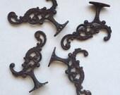 RESERVED for Glenda 3 Antique Brass Hall Tree Coat Rack Hooks