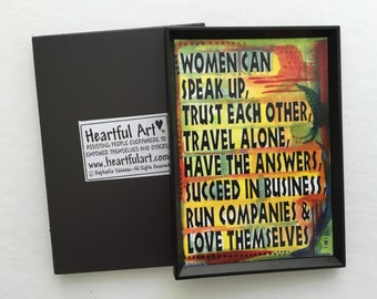 What WOMEN Can Do Spanish or English MAGNET Inspirational Feminist Motivational Print Original Friendship Heartful Art by Raphaella Vaisseau